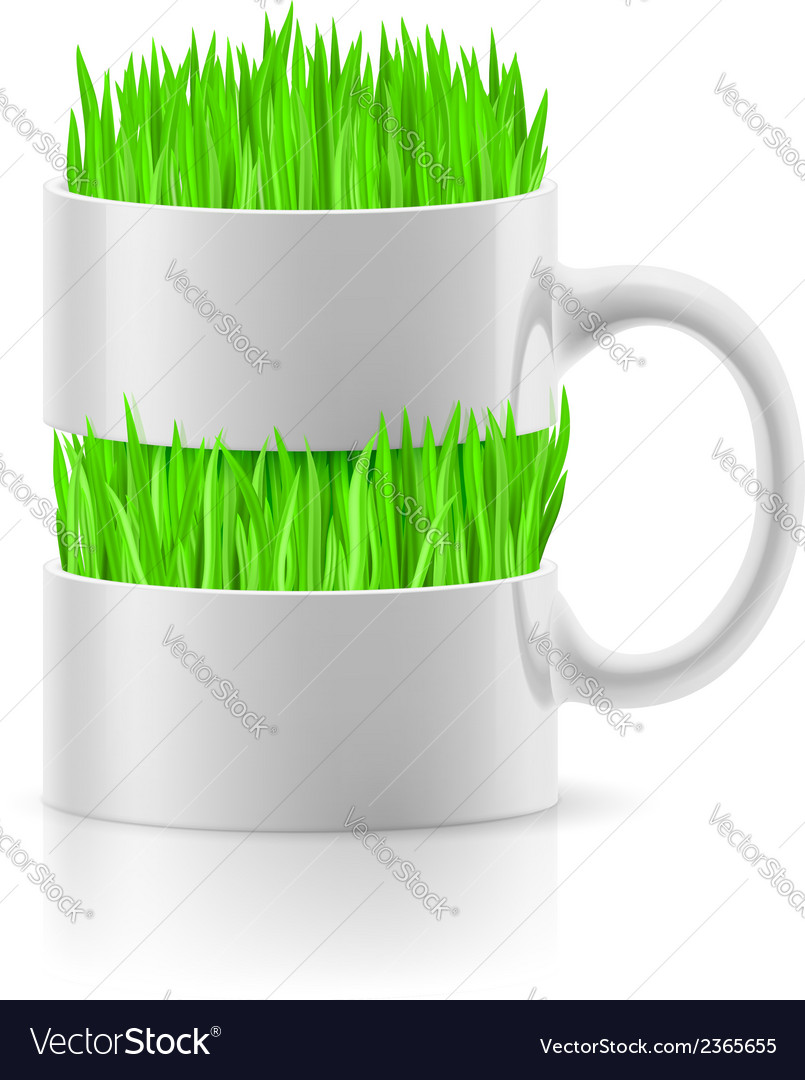 White mug with insertion of grass vector | Price: 1 Credit (USD $1)