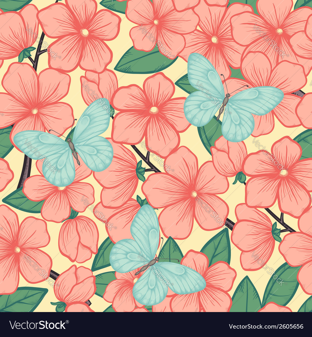 Background with branches of flowering trees vector | Price: 1 Credit (USD $1)