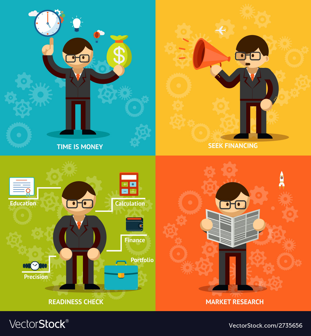 Businessmen icons in variety colored backgrounds vector | Price: 1 Credit (USD $1)