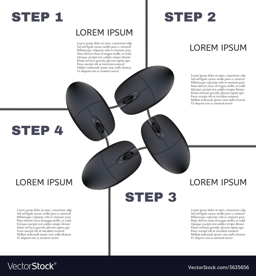 Computer mouses infographic steps vector | Price: 1 Credit (USD $1)
