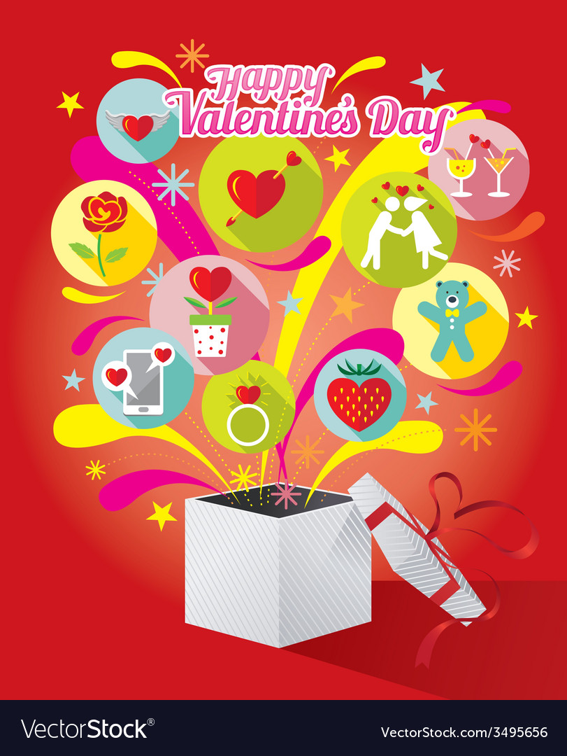 Gift box with love icons and valentines text vector | Price: 1 Credit (USD $1)