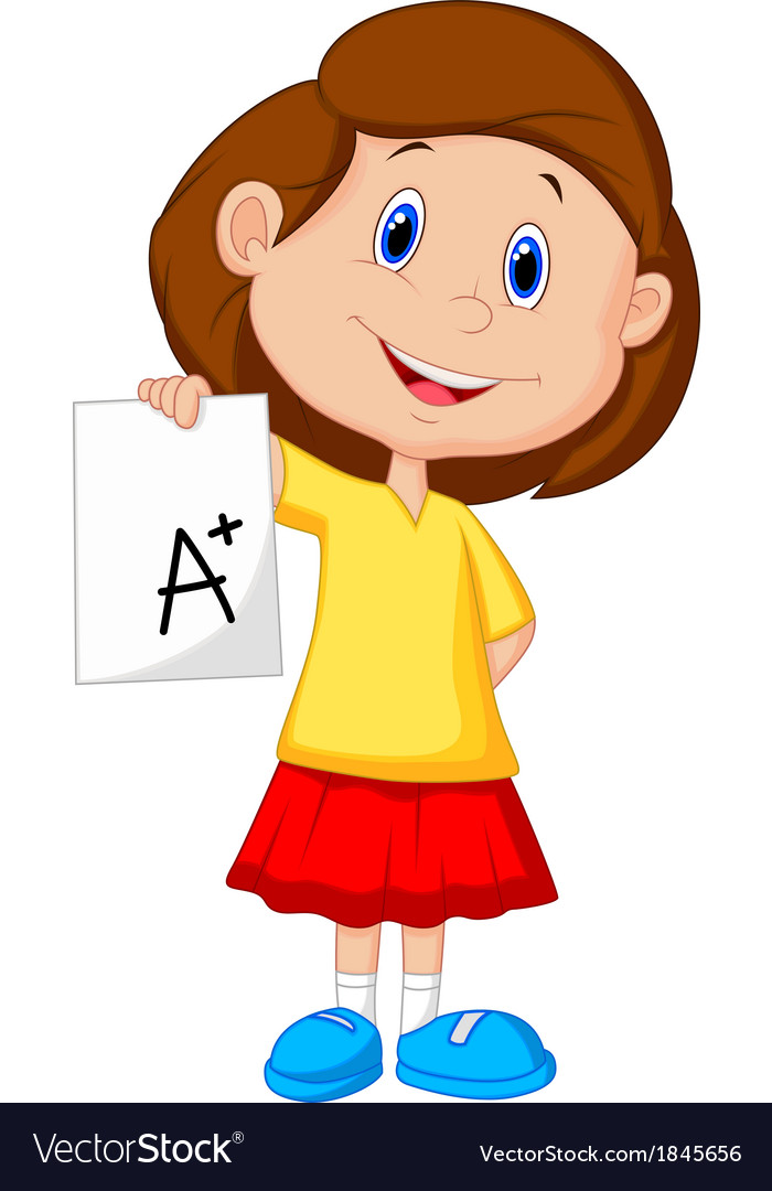 Girl cartoon showing a plus grade vector | Price: 1 Credit (USD $1)