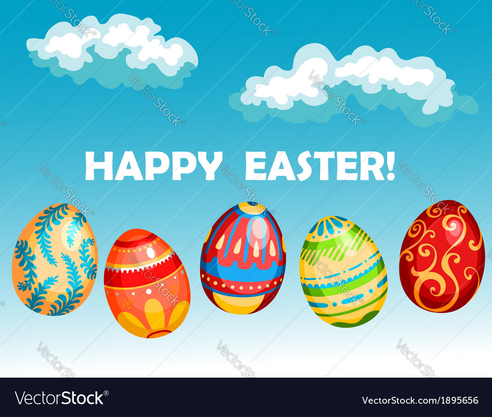 Happy easter greeting card vector   Price: 1 Credit (USD $1)