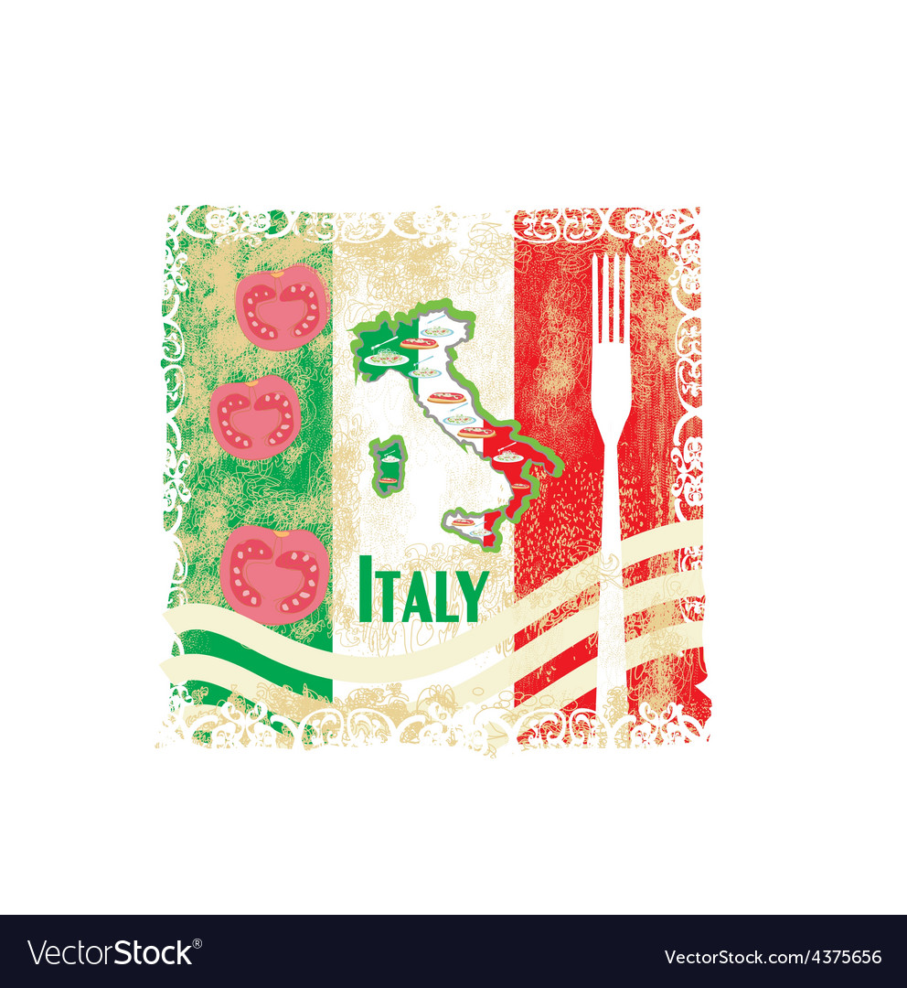 Italy travel grunge card with national italian vector | Price: 1 Credit (USD $1)
