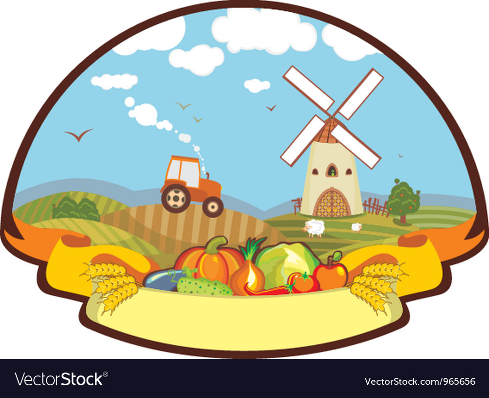 Label farm harvest mill tractor vector | Price: 1 Credit (USD $1)