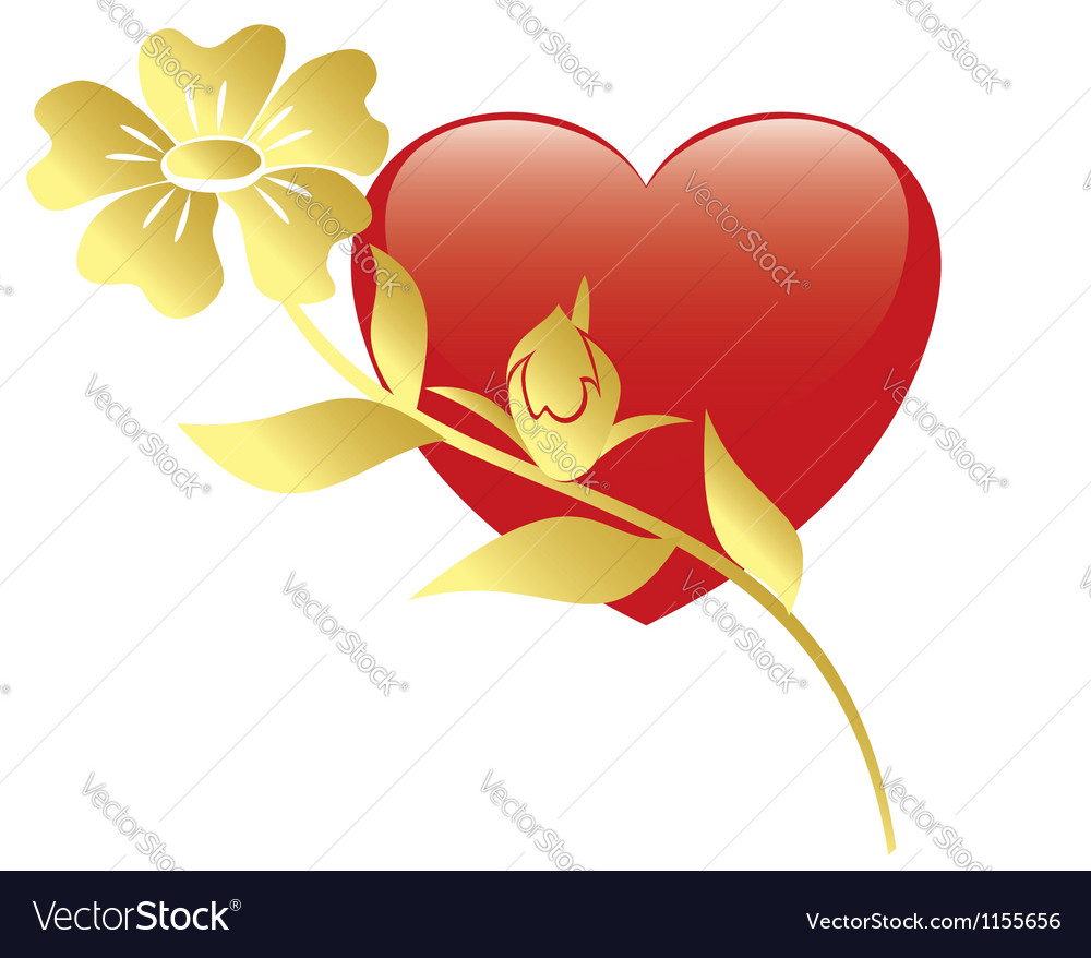 Red heart and flower vector | Price: 1 Credit (USD $1)