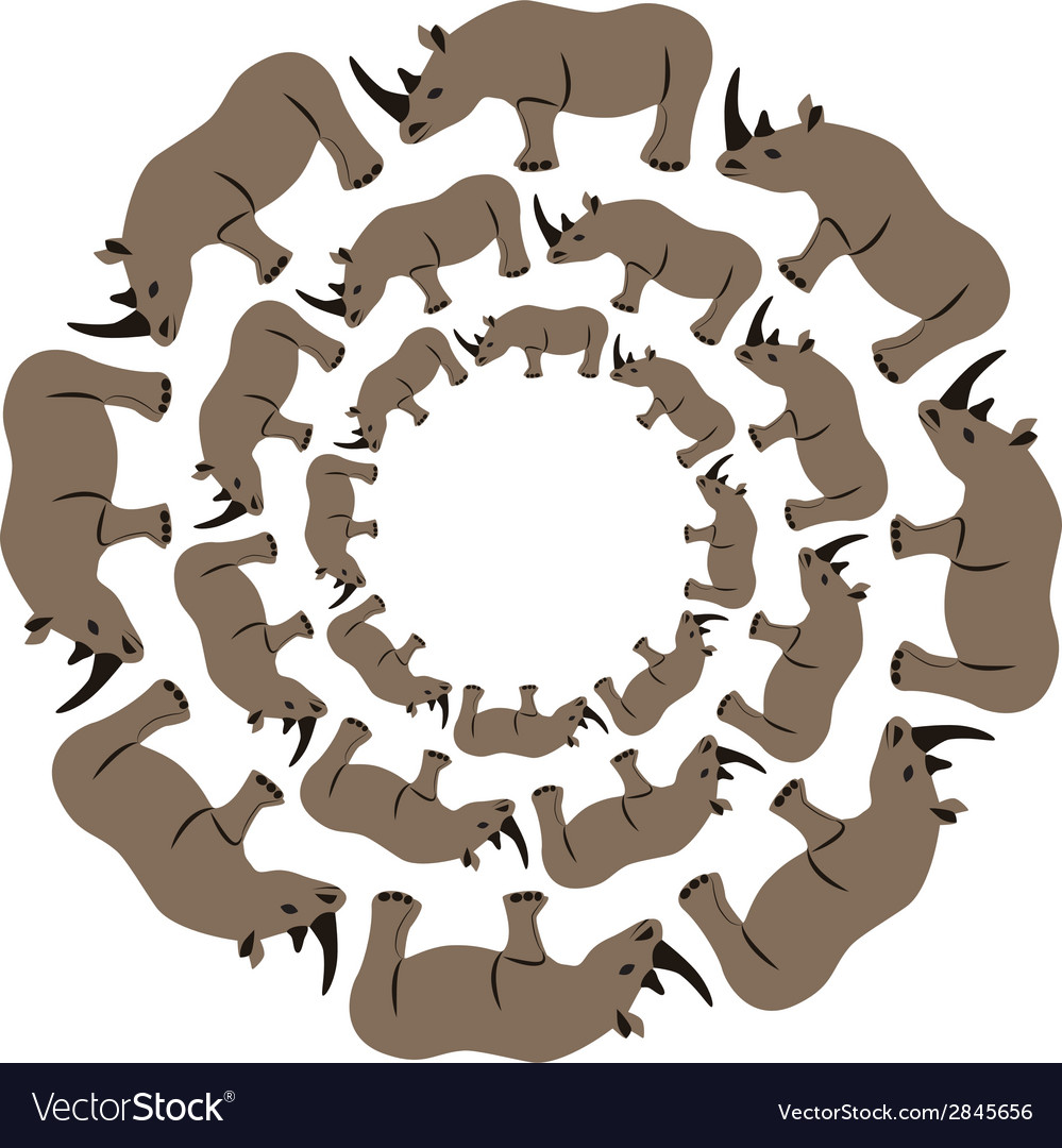 Rhinos in circle vector | Price: 1 Credit (USD $1)