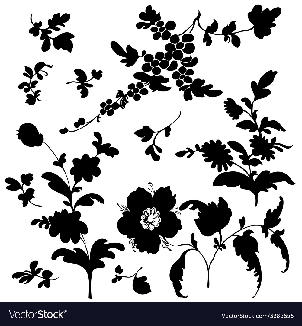 Set silhouette flowers vector   Price: 1 Credit (USD $1)