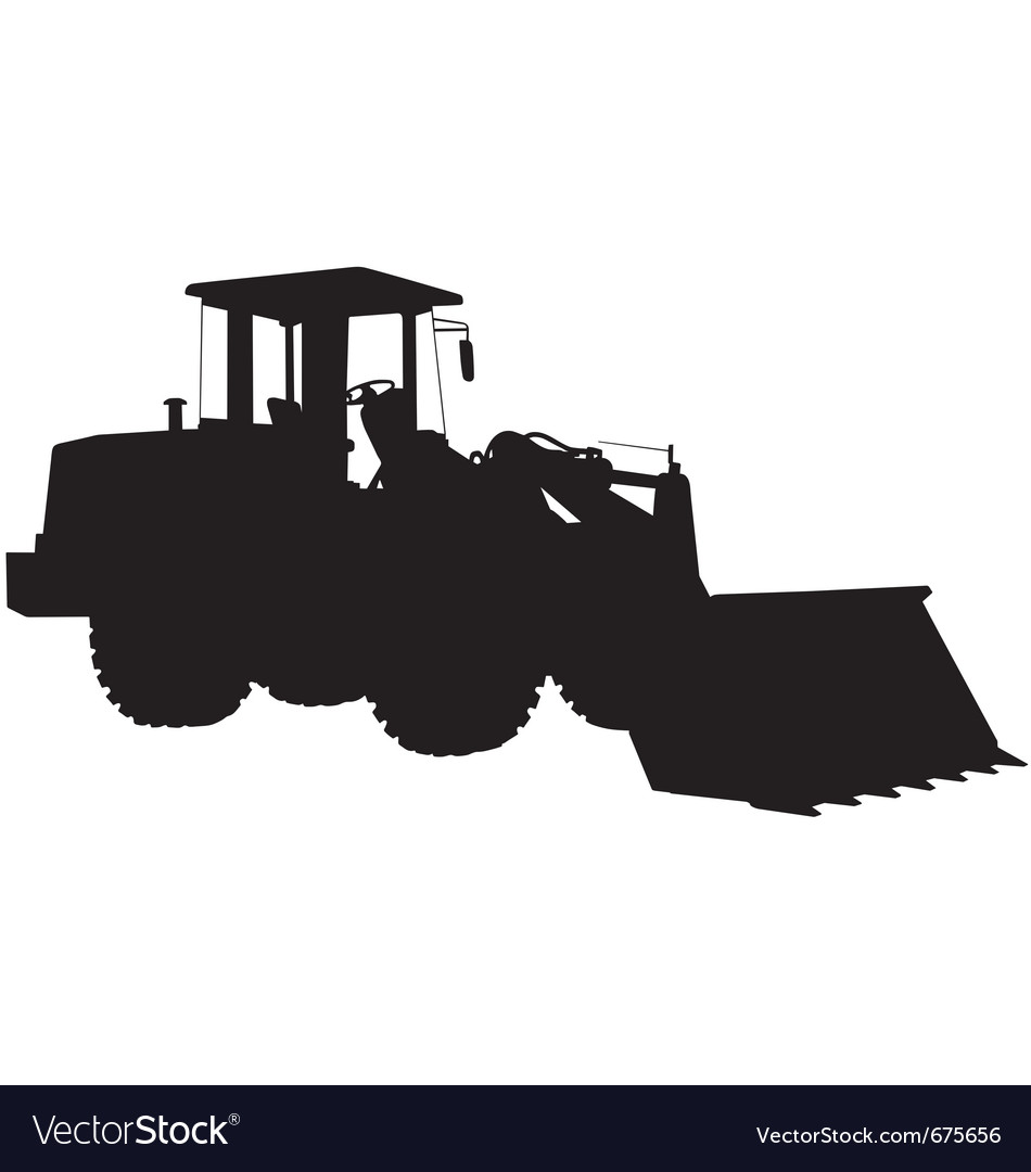 Wheeled loader silhouette vector | Price: 1 Credit (USD $1)
