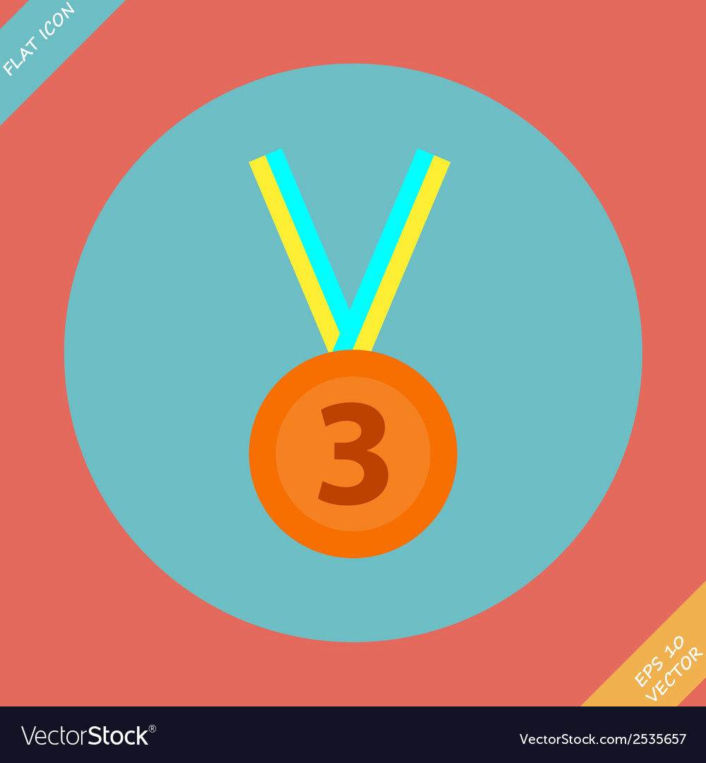 3rd position bronze medal icon - vector | Price: 1 Credit (USD $1)