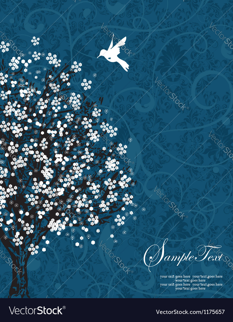 Blue tree silhouette vector | Price: 1 Credit (USD $1)