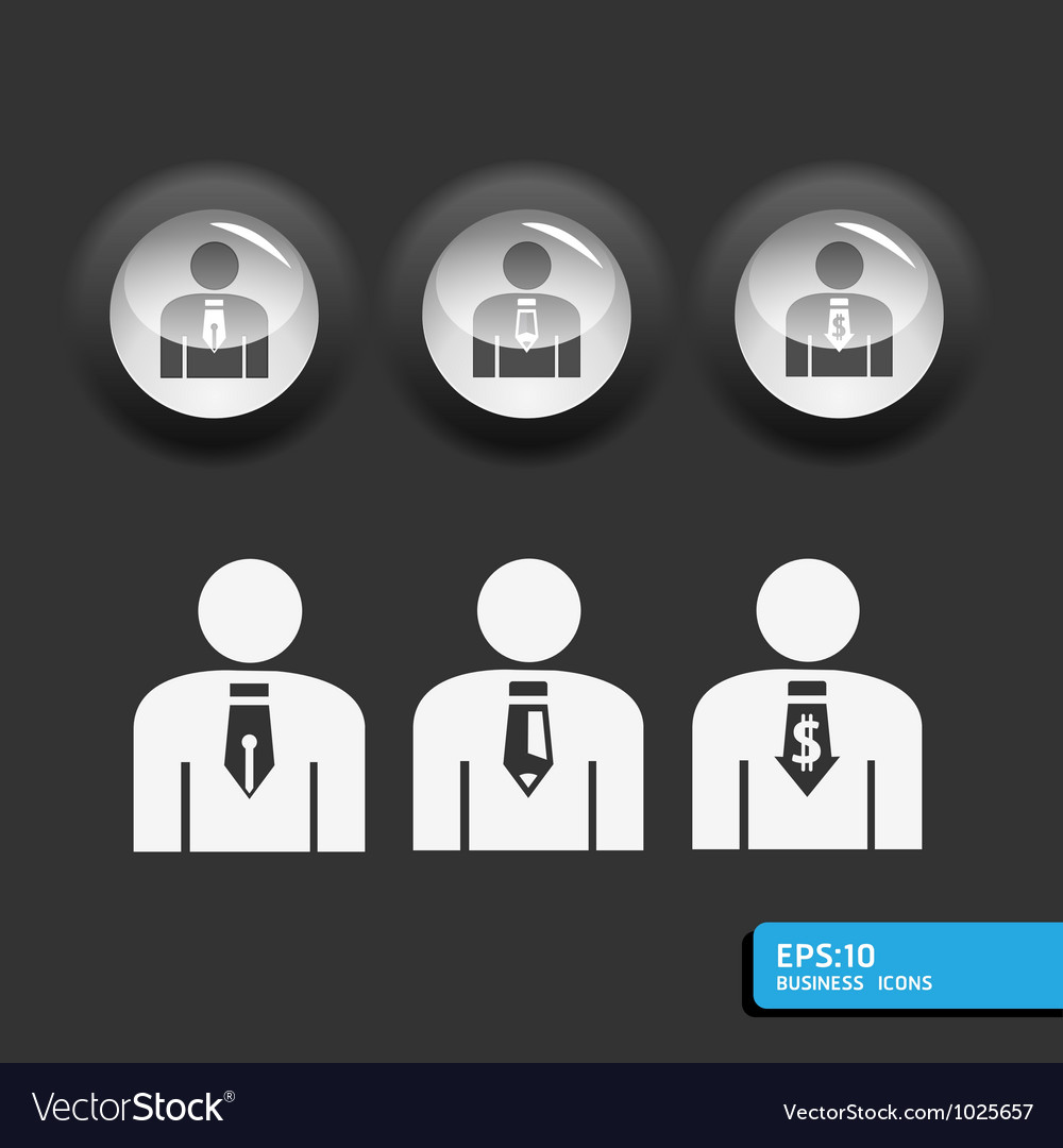 Business man icon set in black color vector | Price: 1 Credit (USD $1)