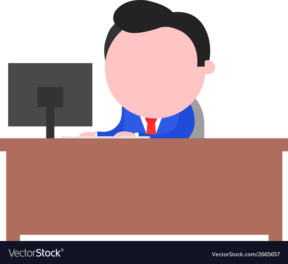 Businessman working behind desk vector | Price: 1 Credit (USD $1)
