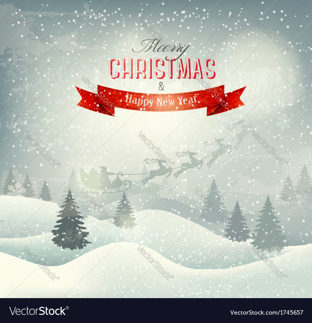 Christmas winter landscape background with santa vector | Price: 3 Credit (USD $3)