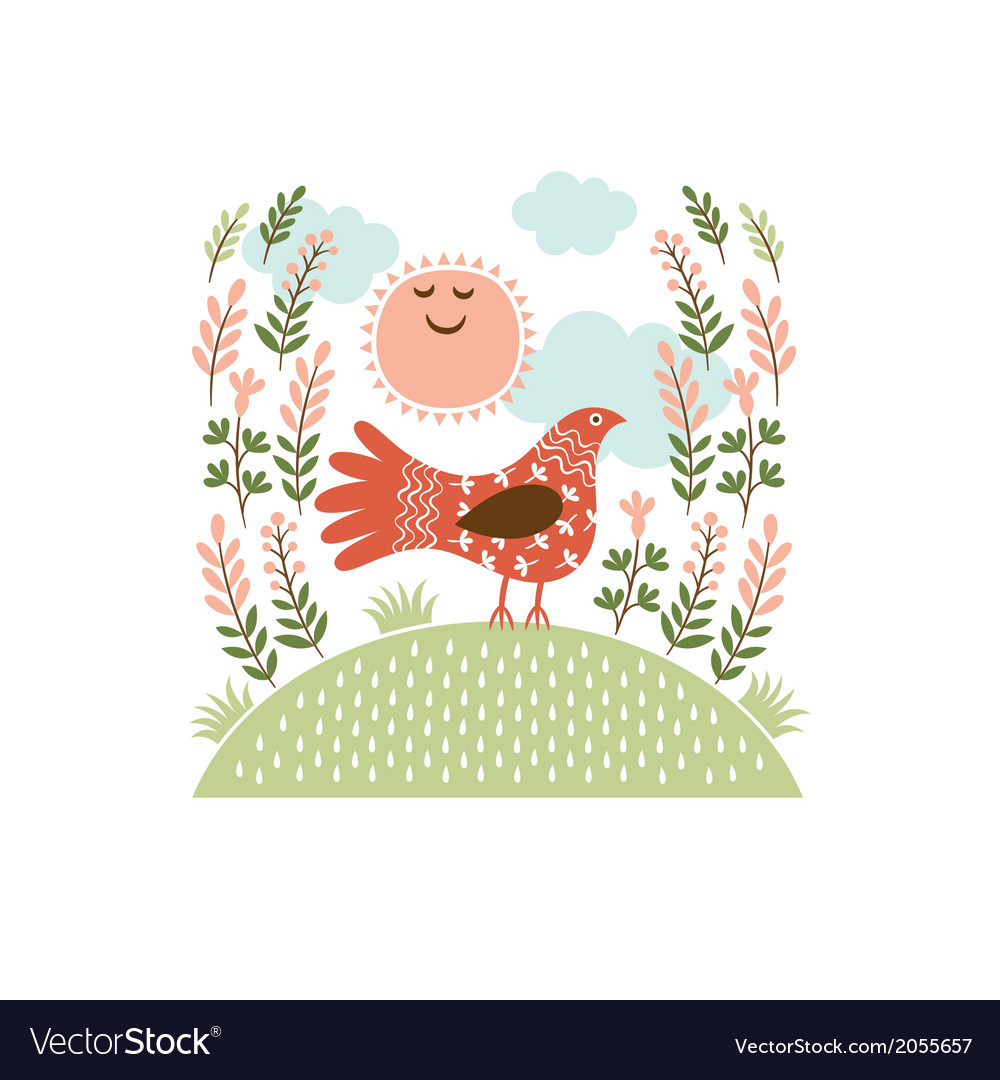 The cute bird on a hill vector | Price: 1 Credit (USD $1)
