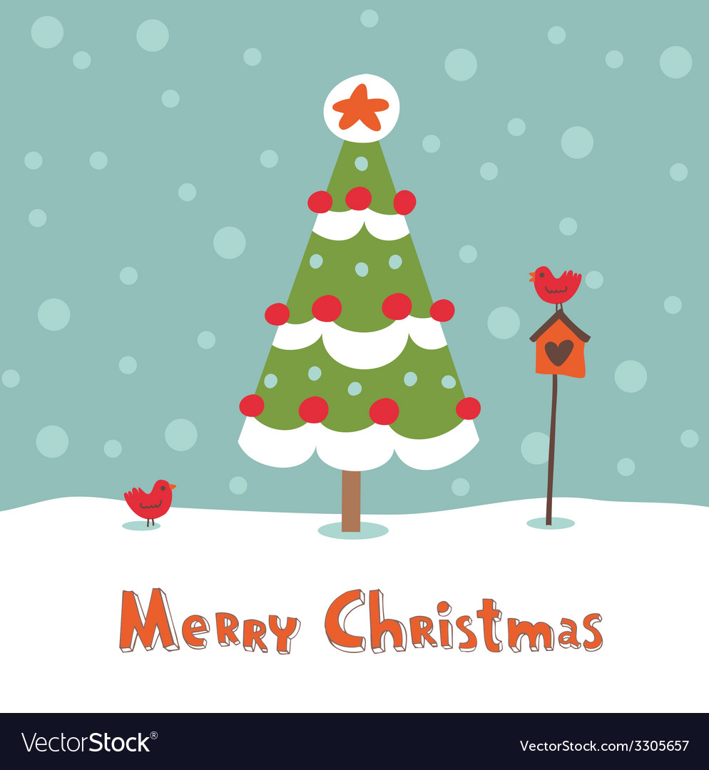 Cute greeting card with christmas tree vector | Price: 1 Credit (USD $1)
