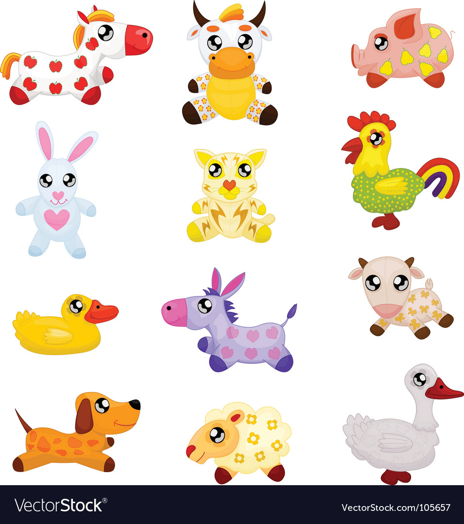 Domestic toy animals vector | Price: 1 Credit (USD $1)