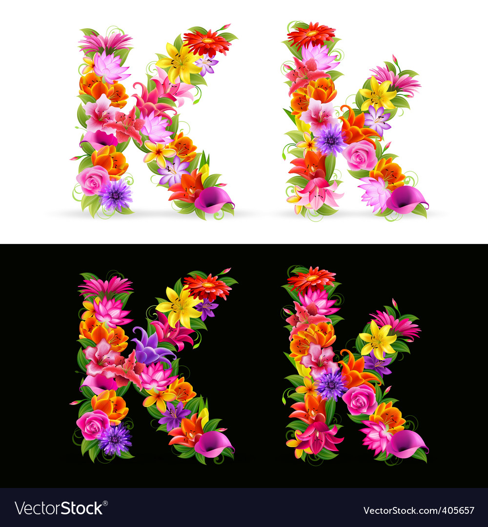 Flower font vector | Price: 1 Credit (USD $1)