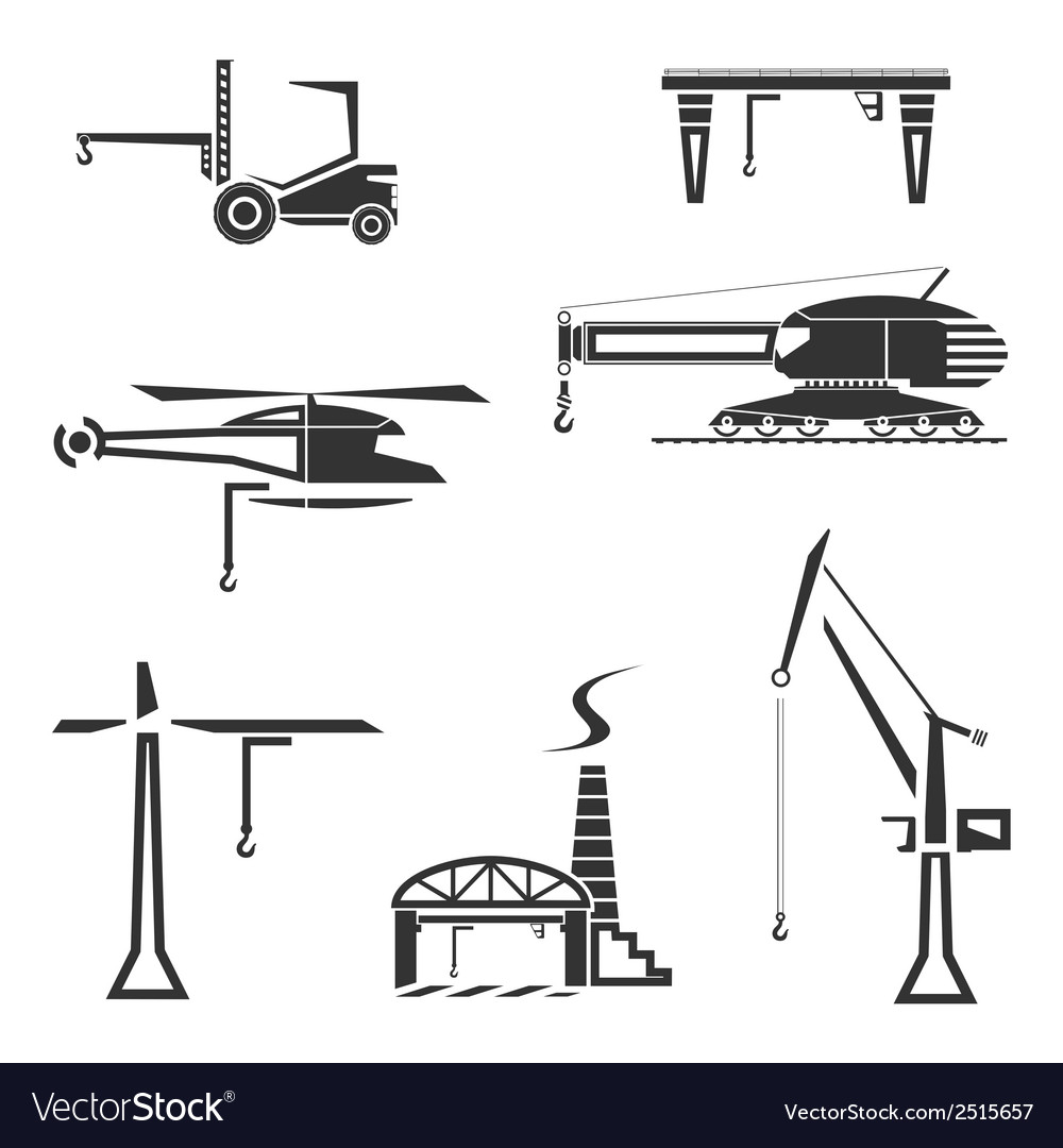 Icons set of cranes vector | Price: 1 Credit (USD $1)