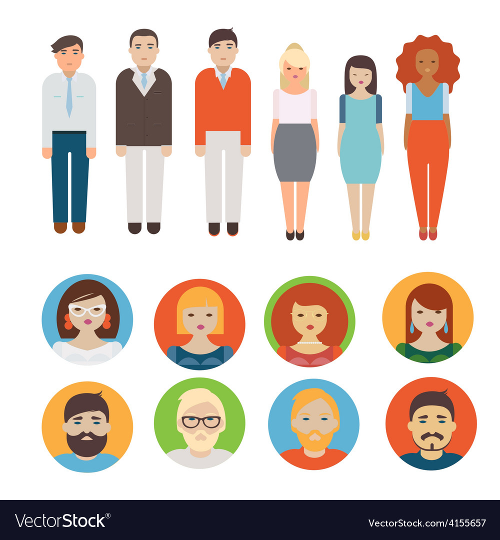 People icons set vector | Price: 1 Credit (USD $1)