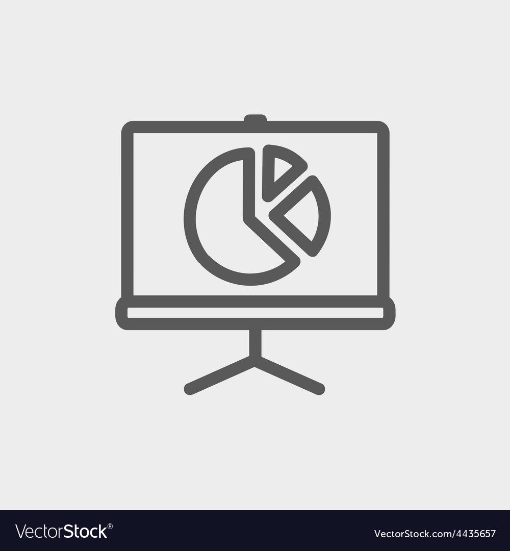Roller screen with pie graph thin line icon vector | Price: 1 Credit (USD $1)