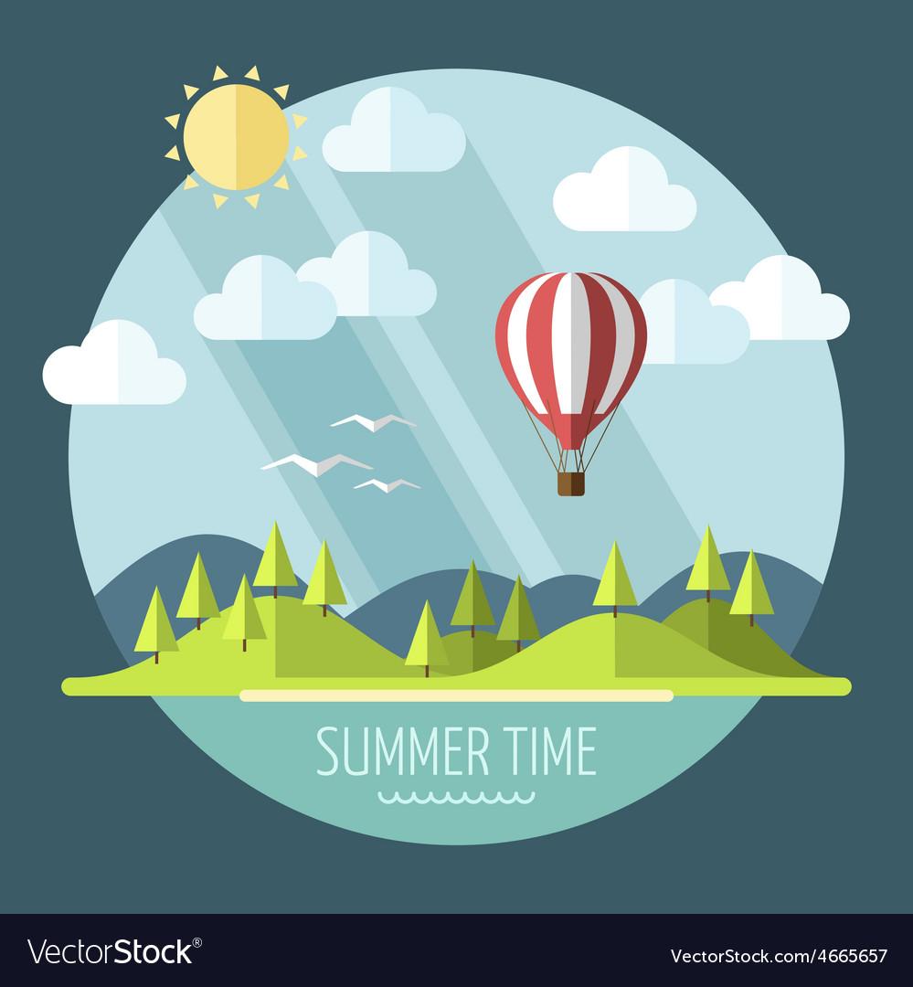 Summer landscape vector   Price: 3 Credit (USD $3)