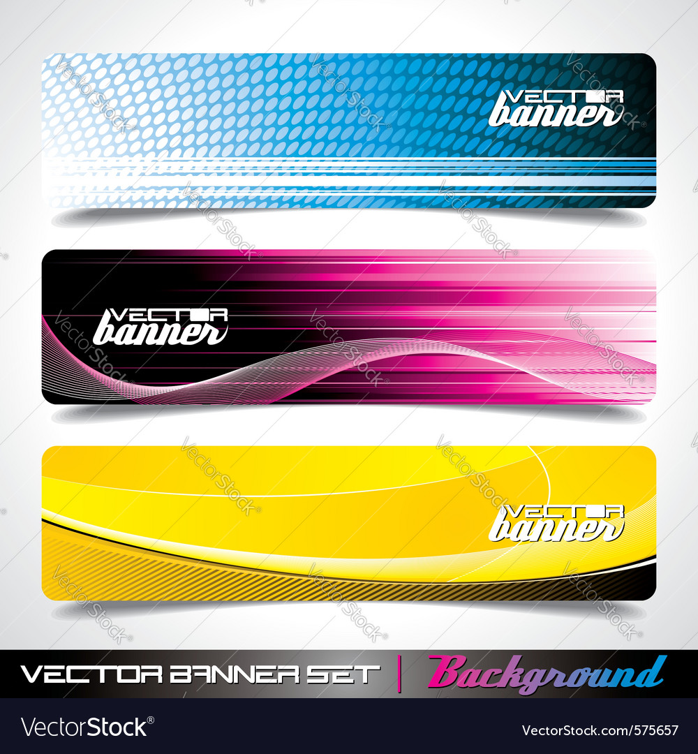 Three abstract banner background vector | Price: 3 Credit (USD $3)
