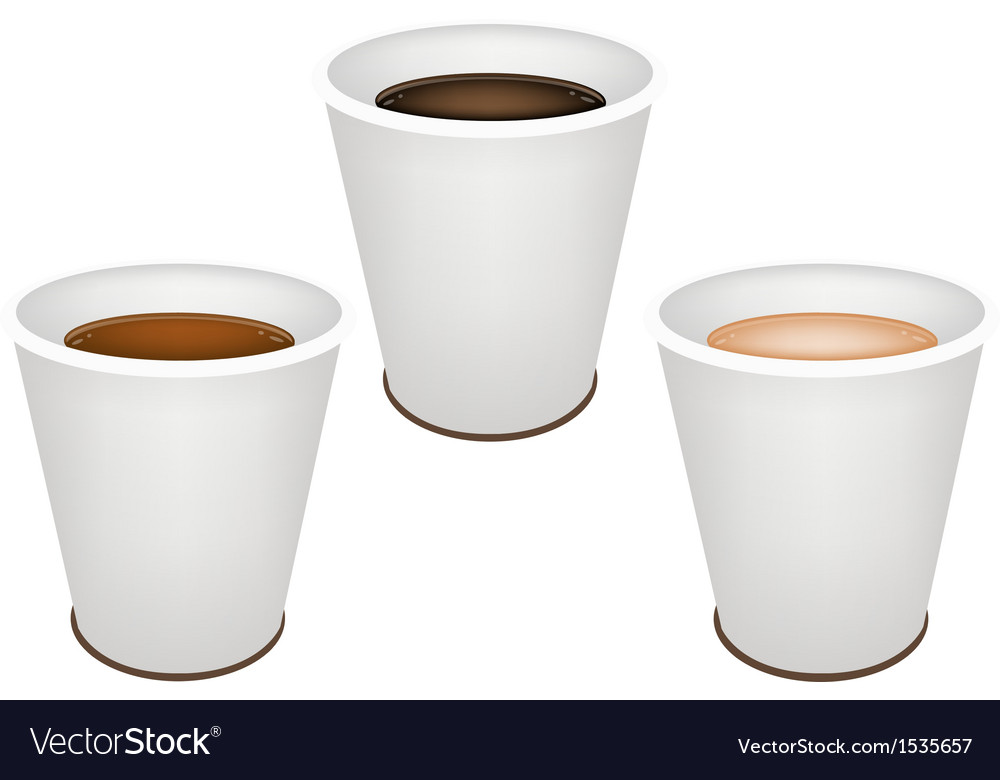 Three kind of coffee in disposable cups vector | Price: 1 Credit (USD $1)
