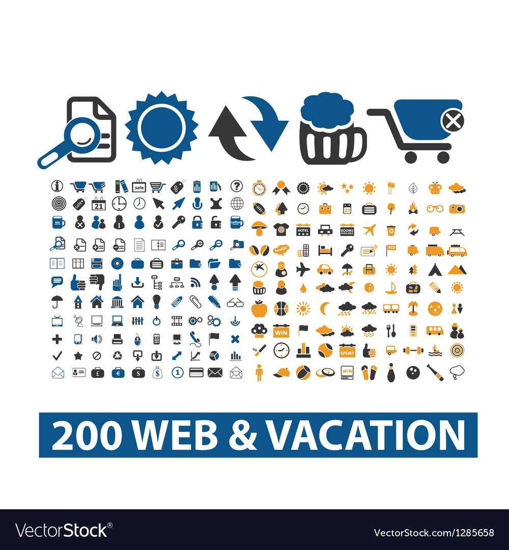 20 web  vacation icons set vector