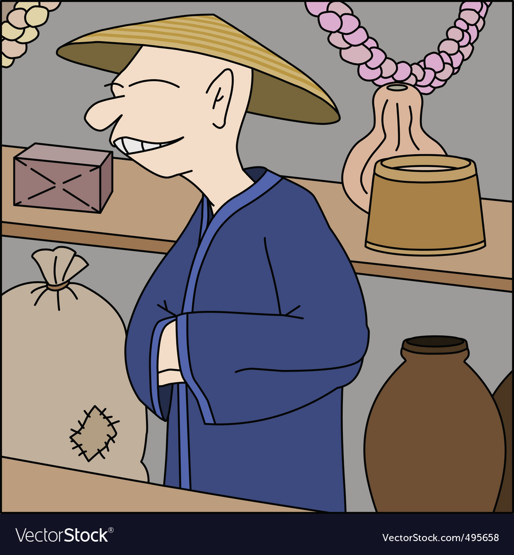 Asian trader in his shop vector | Price: 1 Credit (USD $1)