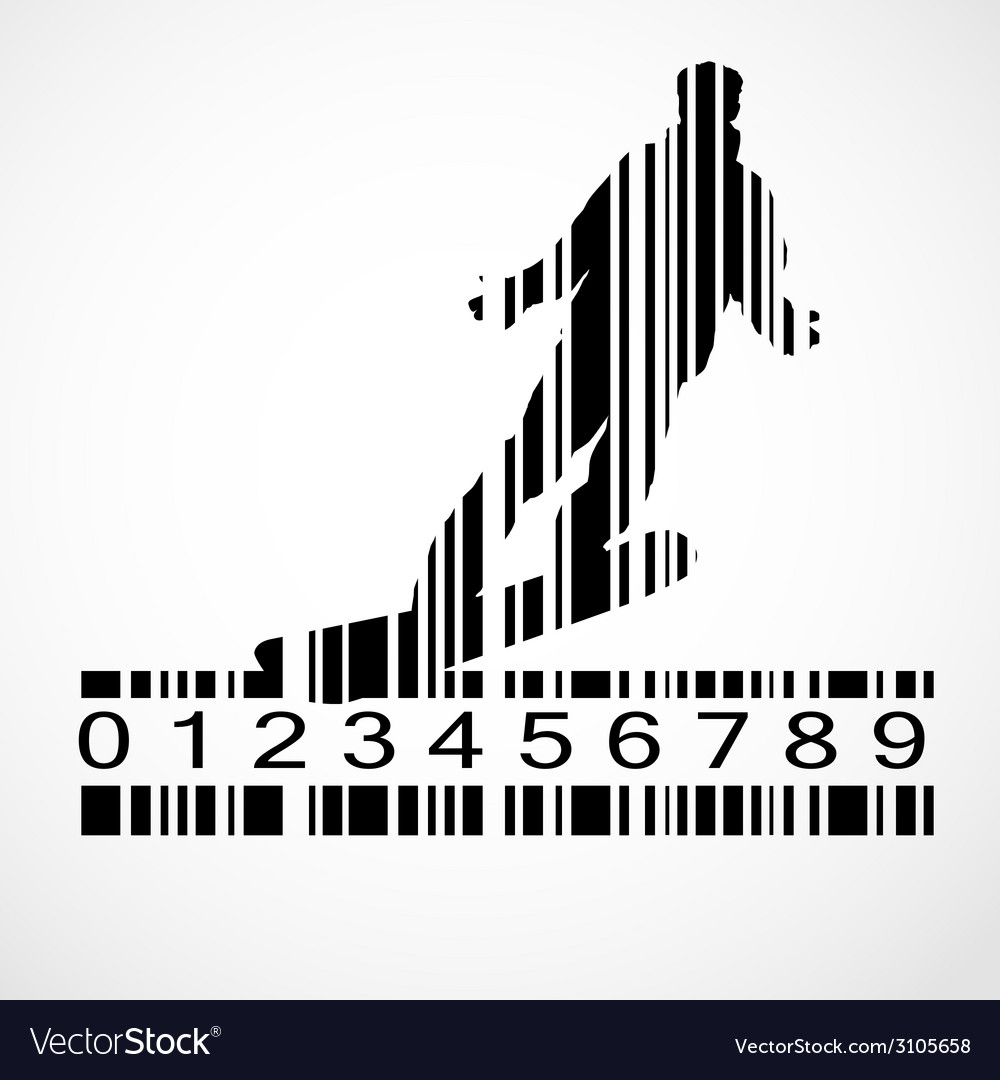 Barcode snowboarder image vector | Price: 1 Credit (USD $1)