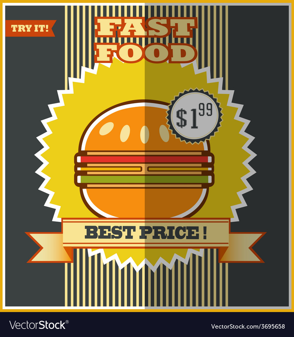 Fast food menu hot hamburger vector | Price: 1 Credit (USD $1)
