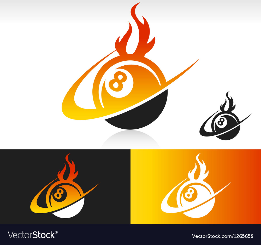 Fire swoosh eight ball icon vector | Price: 1 Credit (USD $1)
