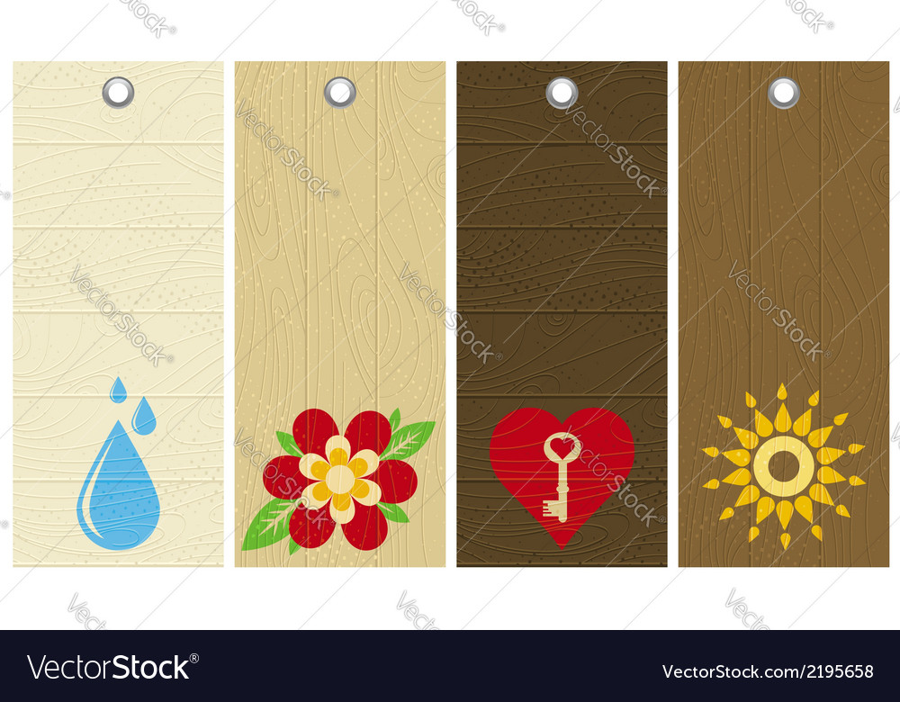 Five wooden labels with floral elements vector | Price: 1 Credit (USD $1)