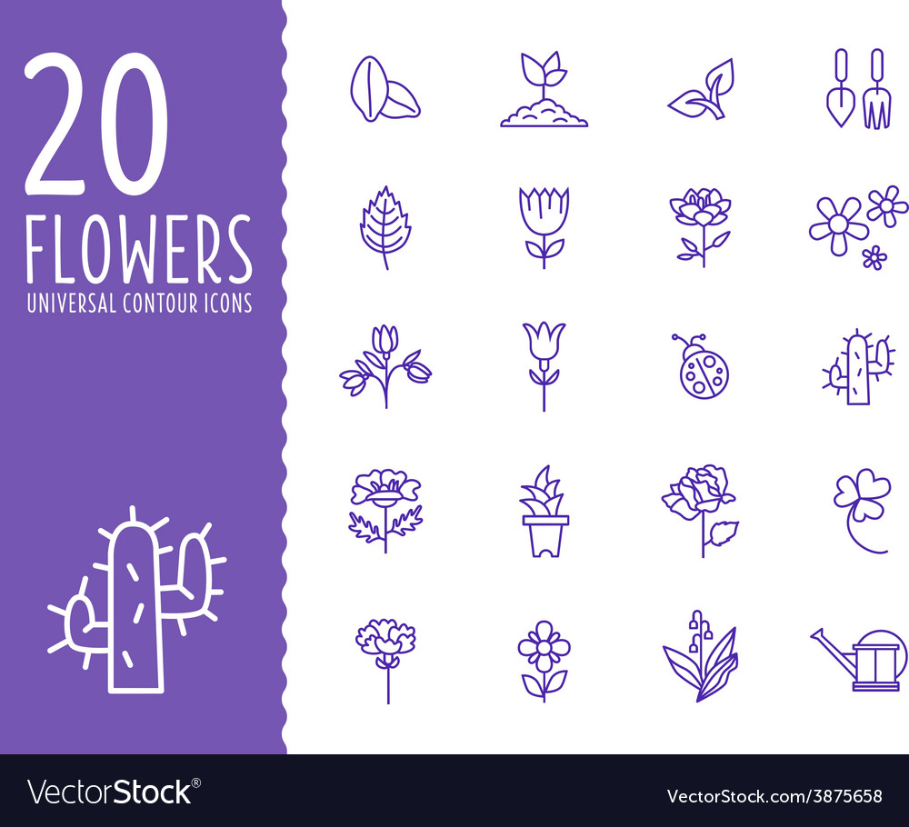 Flower and gardening tools icons with white vector | Price: 1 Credit (USD $1)