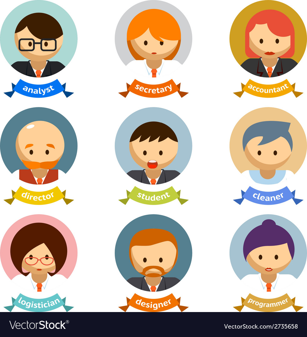 Office cartoon character avatars with ribbons vector | Price: 1 Credit (USD $1)