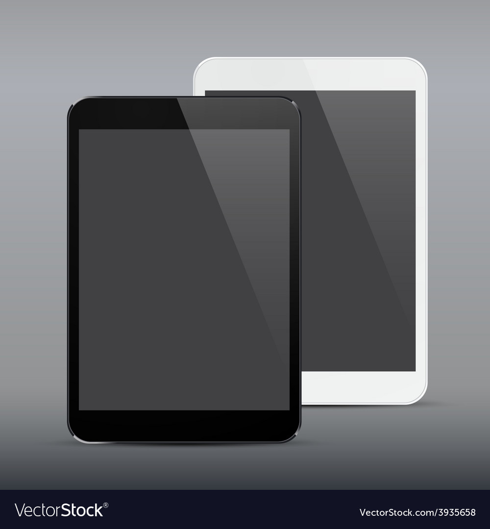 Realistic black and white tablet pc vector | Price: 1 Credit (USD $1)