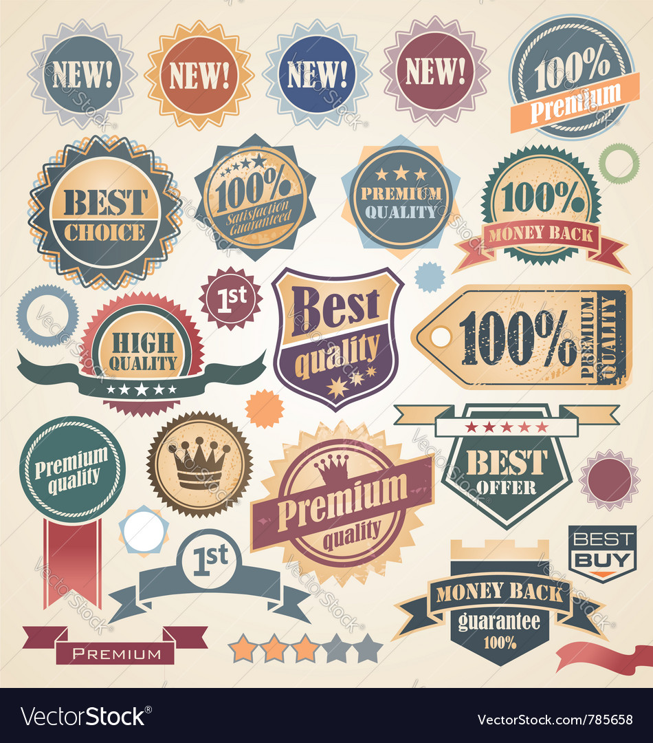 Retro labels and stickers collection vector   Price: 3 Credit (USD $3)