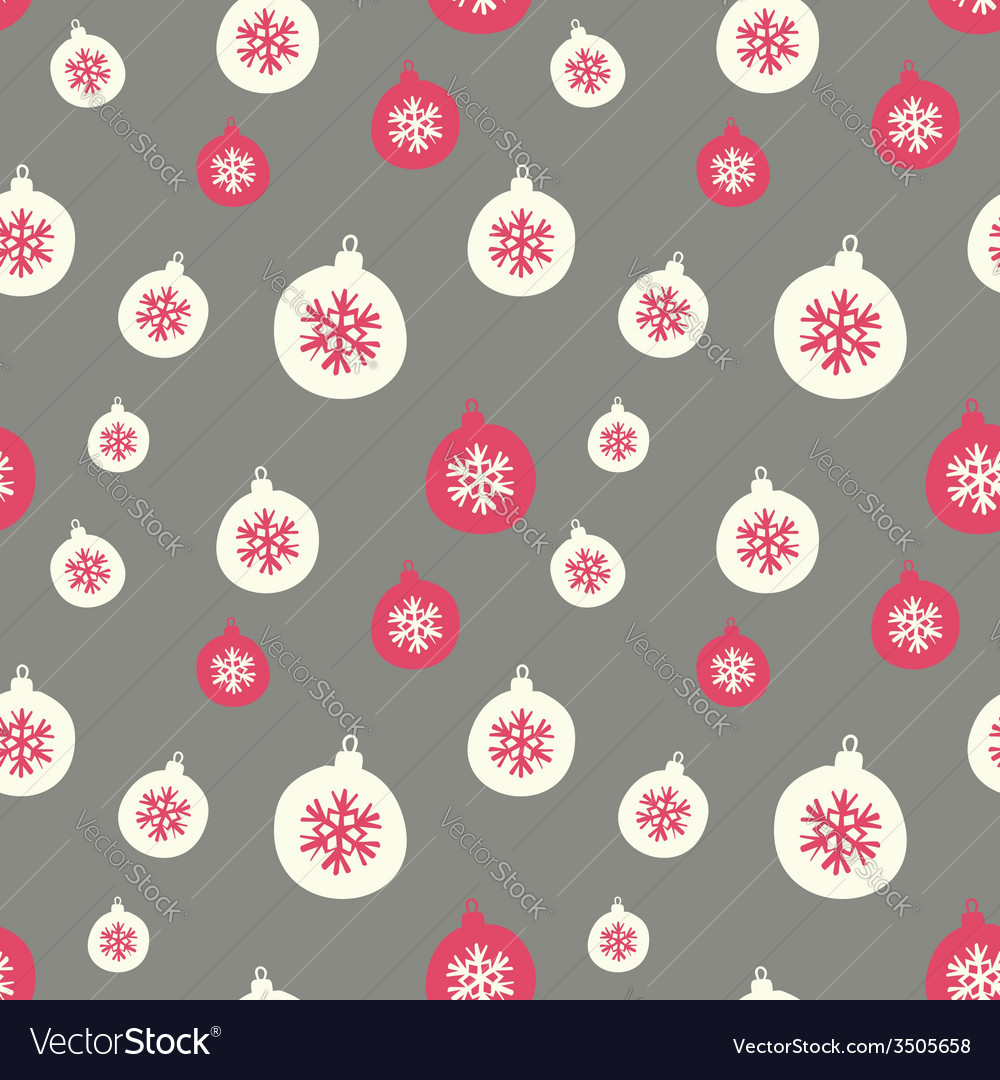 Retro style christmas baubles seamless pattern vector | Price: 1 Credit (USD $1)