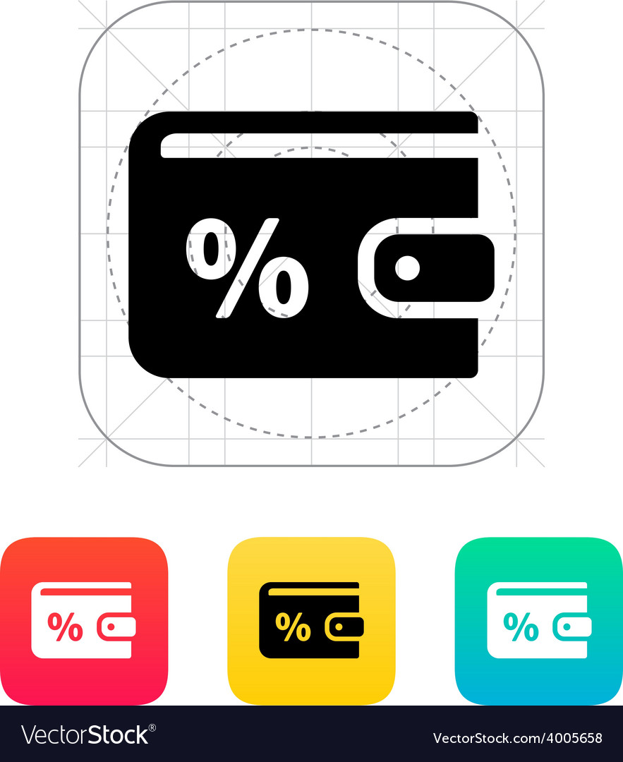 Wallet with percentage icon vector | Price: 1 Credit (USD $1)