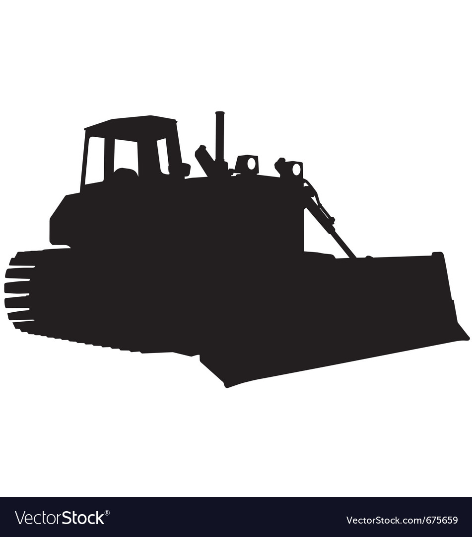 Bulldozer silhouette vector | Price: 1 Credit (USD $1)