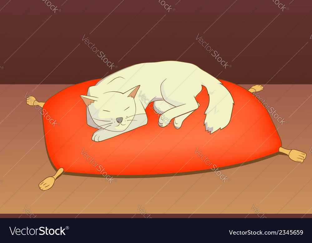 Cat on pillow vector | Price: 1 Credit (USD $1)