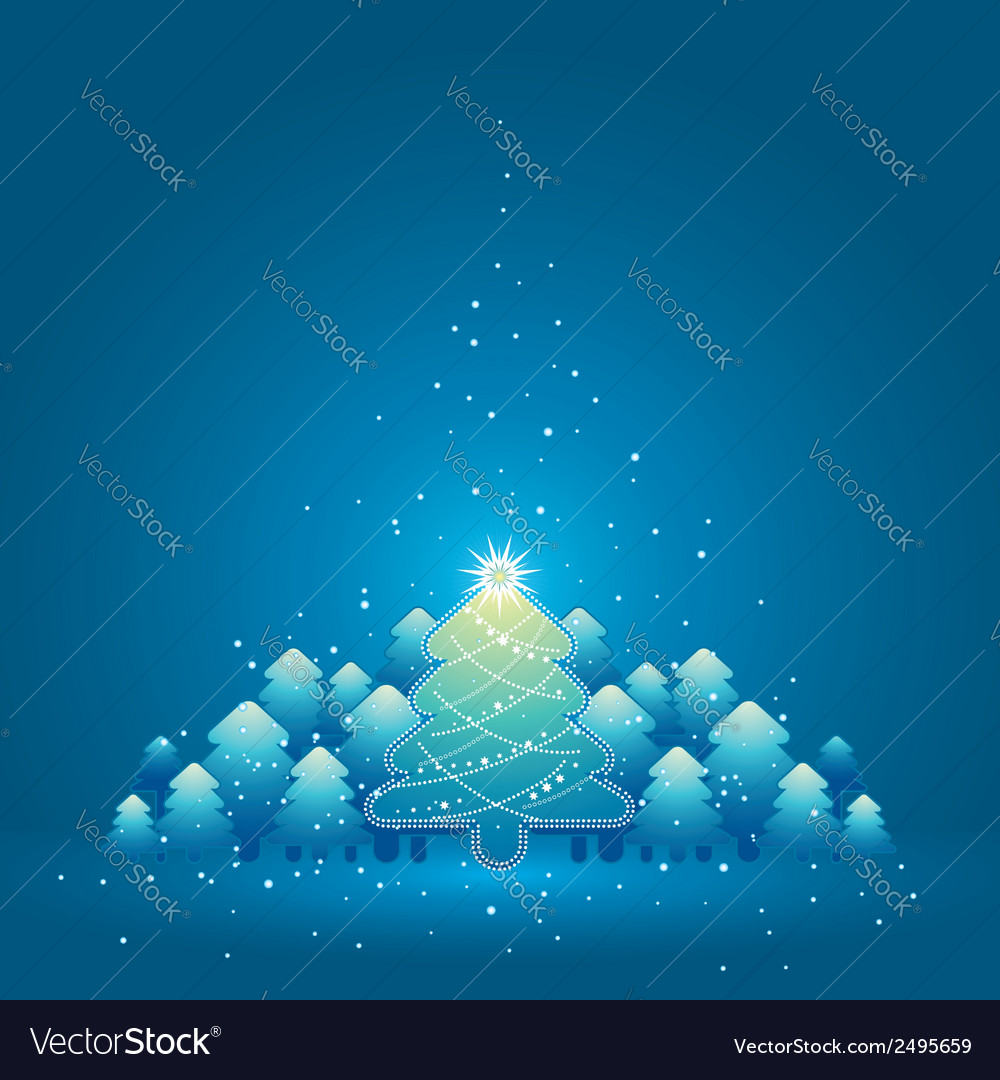 Christmas card with forest of pine and snowflakes vector | Price: 1 Credit (USD $1)