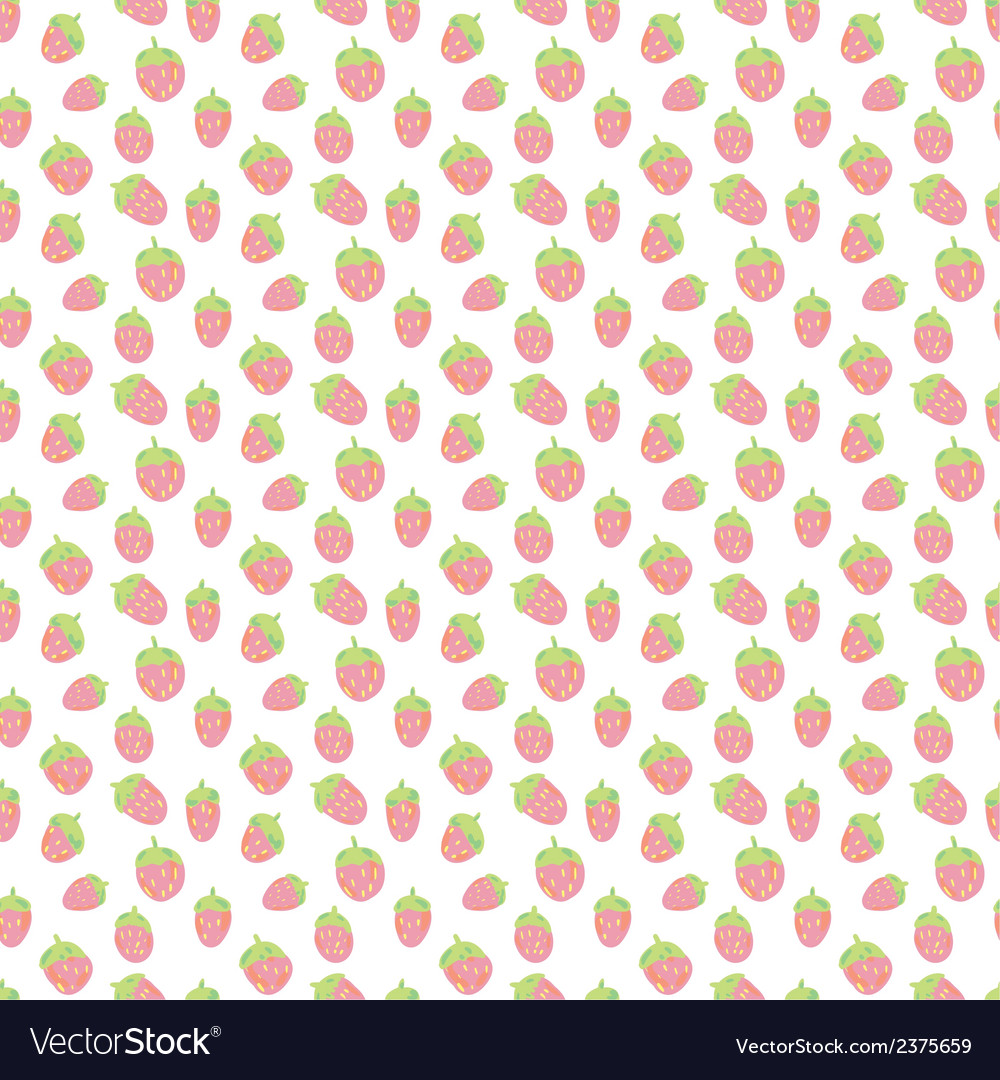 Cute strawberries seamless pattern vector | Price: 1 Credit (USD $1)
