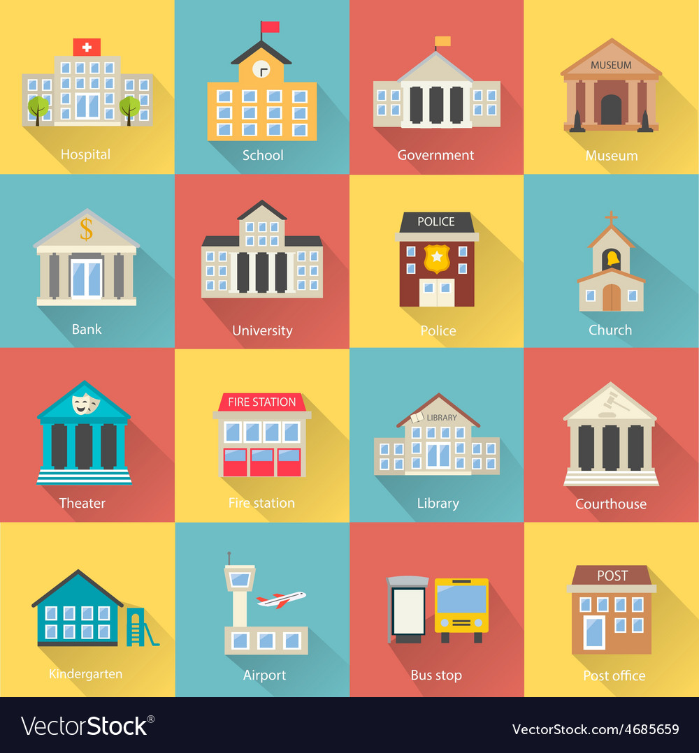 Government buildings icons set with long shadow vector | Price: 1 Credit (USD $1)