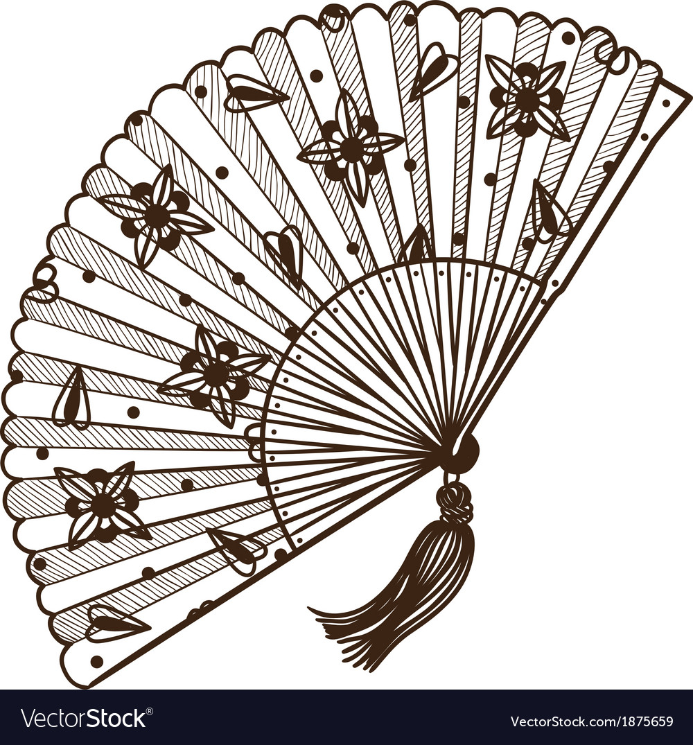 Ladys fan vector | Price: 1 Credit (USD $1)