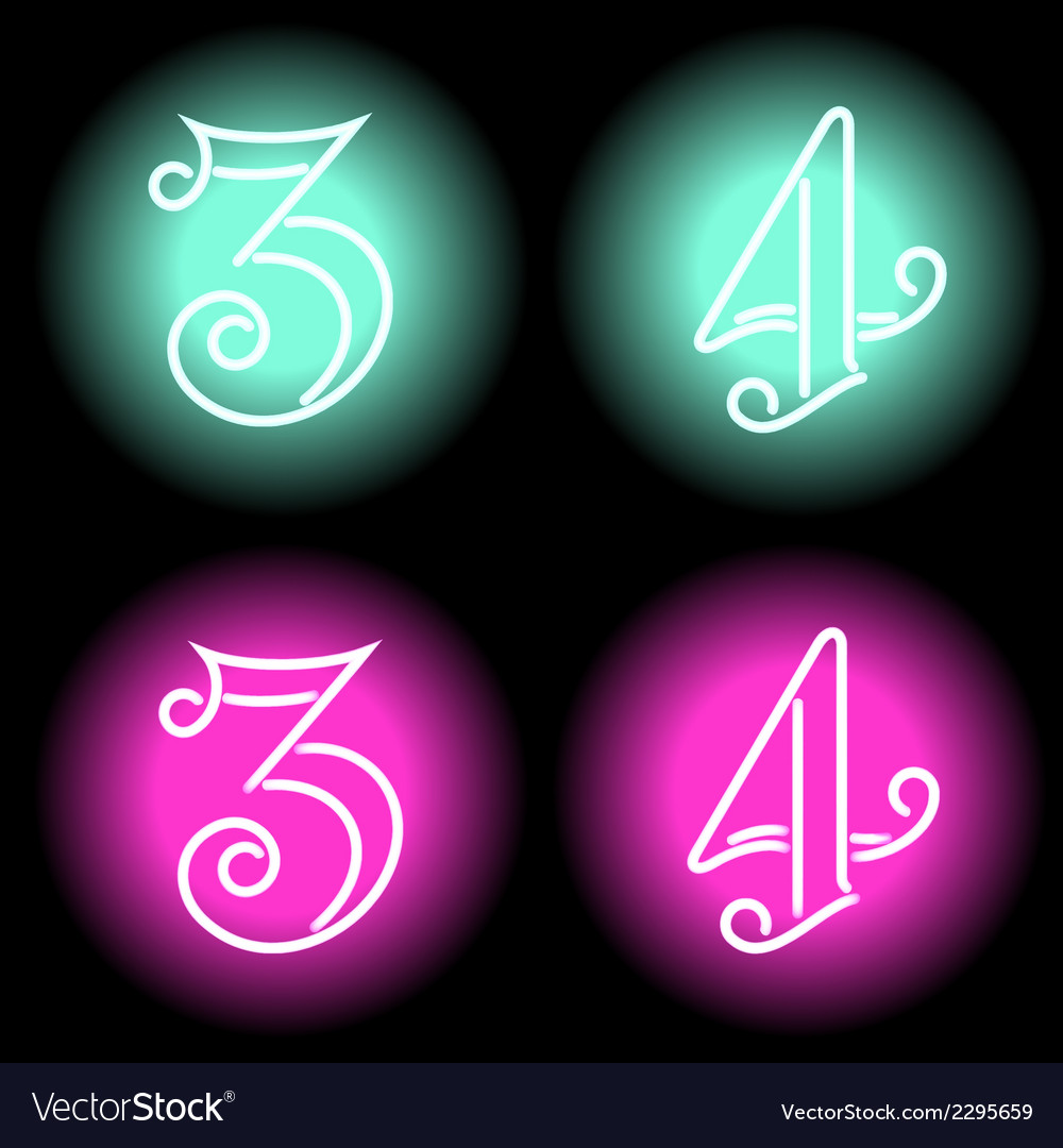 Neon digits vector | Price: 1 Credit (USD $1)