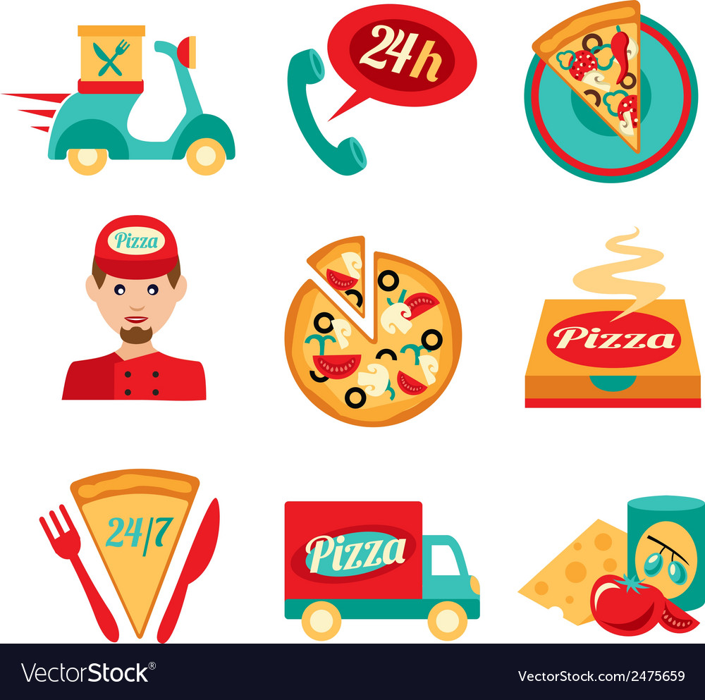 Pizza fast delivery icons set vector | Price: 1 Credit (USD $1)