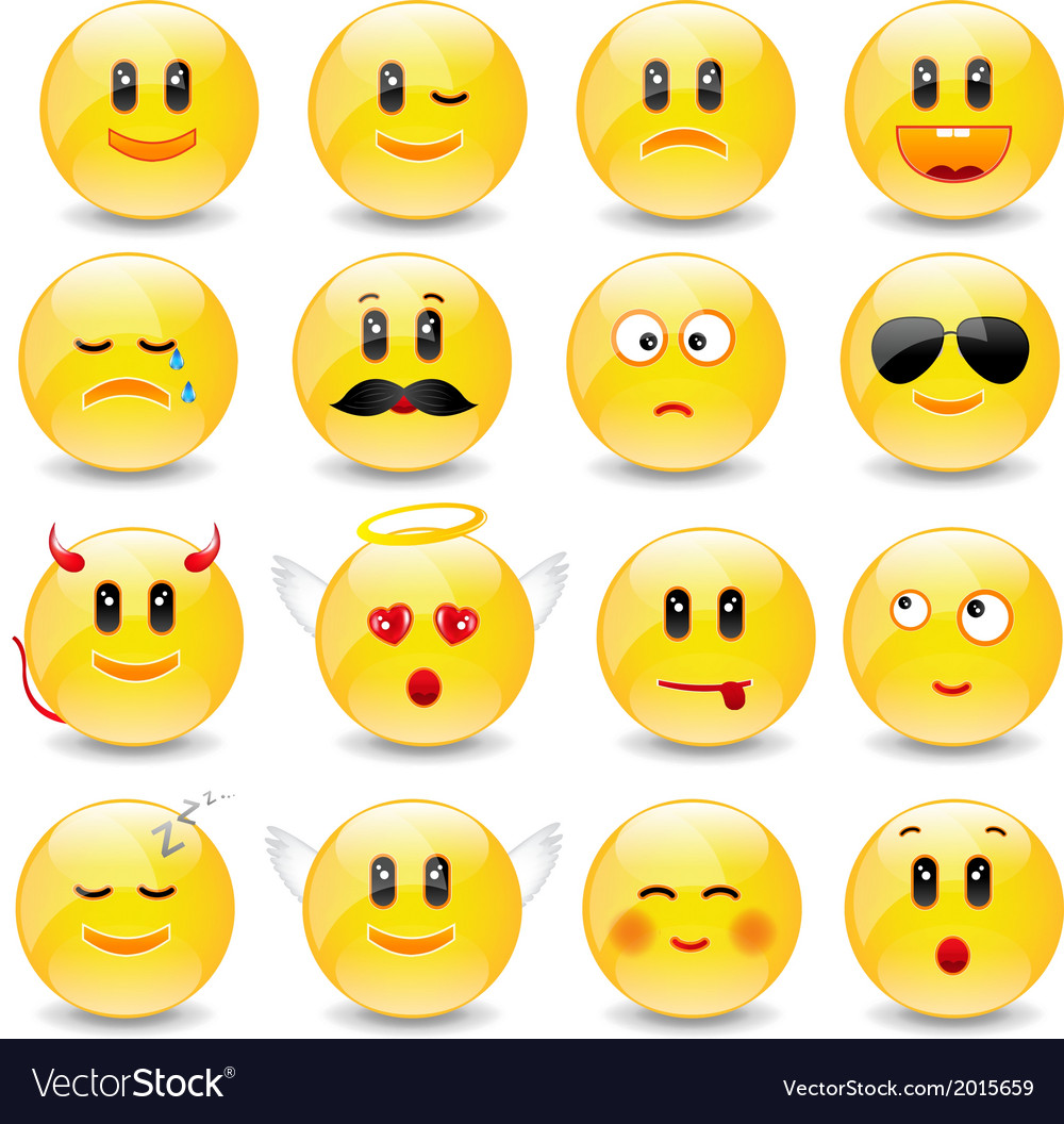 Yellow smiley balls with positive and negative vector | Price: 1 Credit (USD $1)