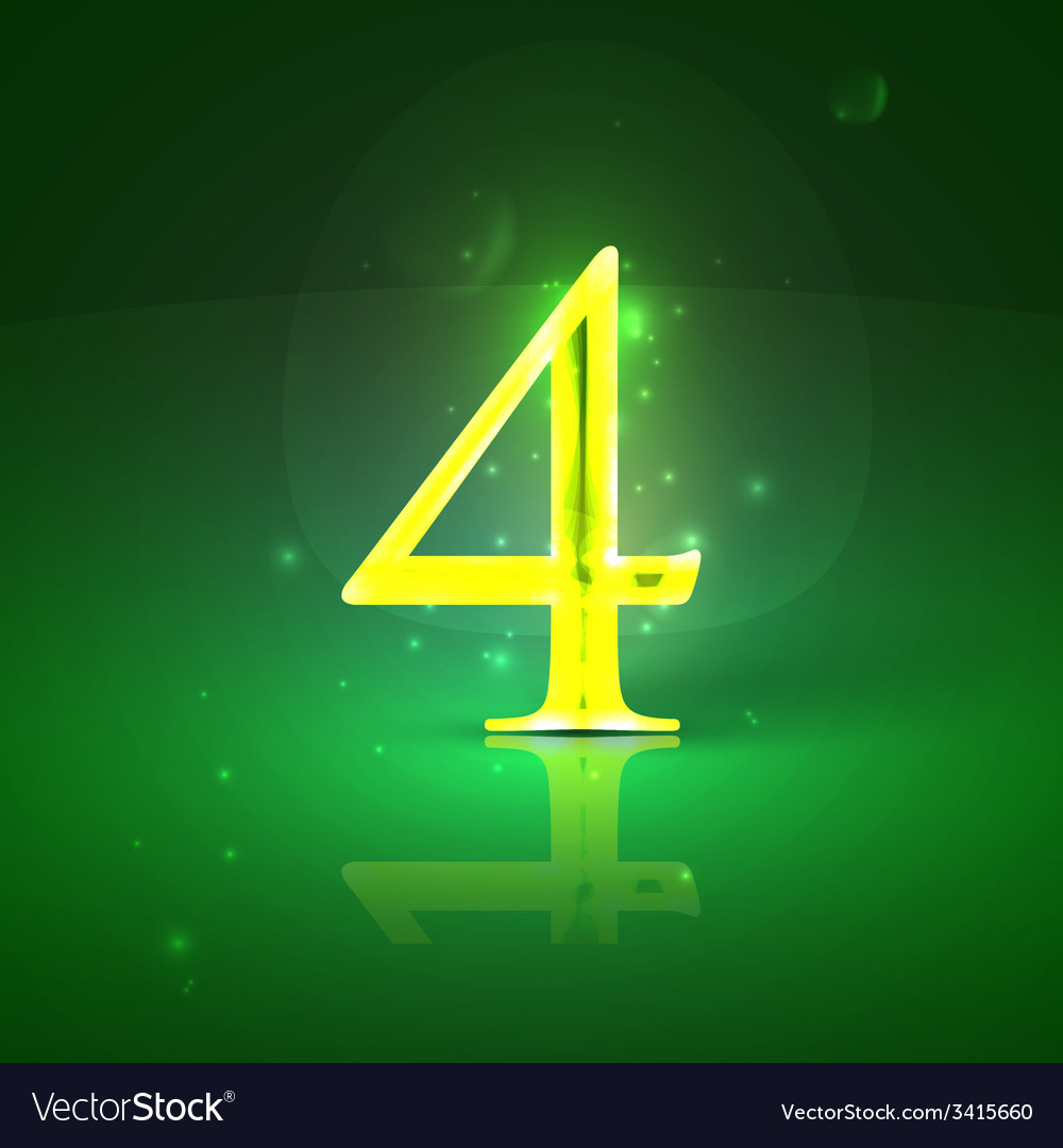 4 green glowing number four vector | Price: 1 Credit (USD $1)